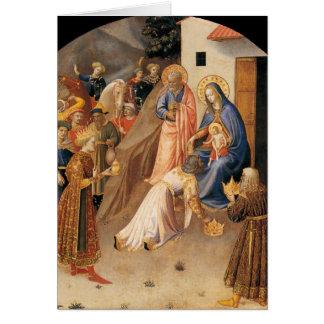 Adoración de unos de los reyes magos por Fra Tarjeta