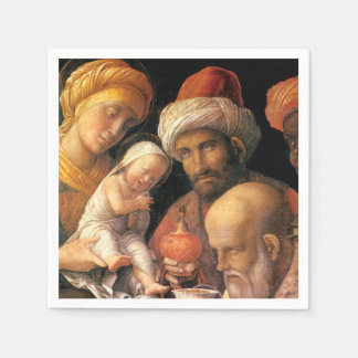 Adoración de unos de los reyes magos por Mantegna Servilleta Desechable