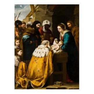 Adoración española de unos de los reyes magos tarjeta postal