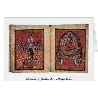 Adoración por el amo del libro de oración tarjeta de felicitación