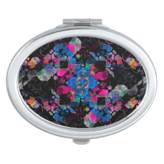 Adornado floral geométrico estilizado espejo compacto