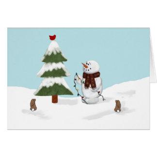 Adornamiento de la tarjeta de Navidad del muñeco
