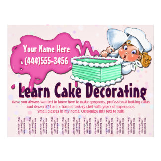 Adornamiento de la torta. El cocer. Clases. Tarjeta Publicitaria