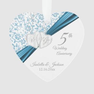 Adorno 5to Aniversario de boda azul