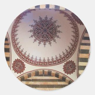 Adorno abstracto del Arabesque en el techo de la m Etiqueta Redonda