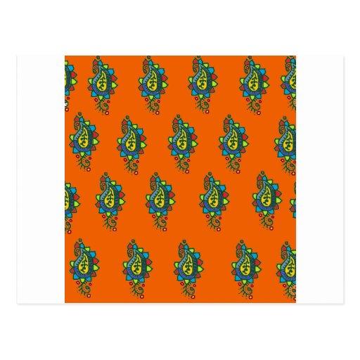 Adorno anaranjado y verde postal
