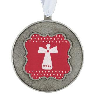 Adorno Ángel del navidad con blanco rojo de los corazones
