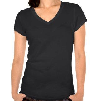 Adorno azul del damasco de la flor de lis en negro camisetas