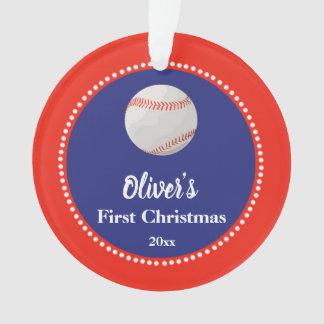 Adorno Azul rojo del primer del navidad béisbol recién