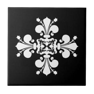 Adorno blanco elegante del damasco de la flor de l azulejo cuadrado pequeño