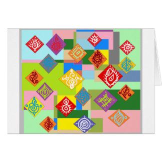Adorno colorido del dibujo tarjetas