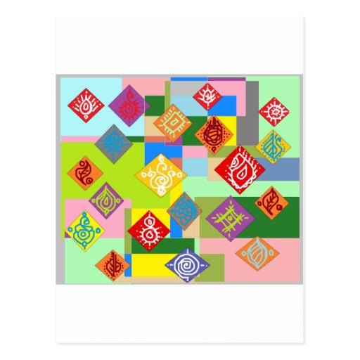 Adorno colorido del dibujo tarjeta postal