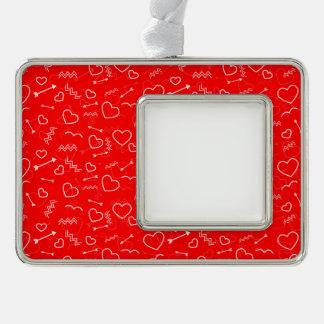 Adorno Con Marco Corazón y flecha blancos rojos del amor de las