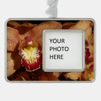 Adorno Con Marco Orquídeas del melocotón con floral hermoso de las