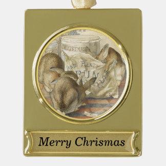 Adorno Con Rótulo Dorado Conejitos personalizados de las Felices Navidad