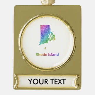 Adorno Con Rótulo Dorado Rhode Island