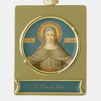Adorno Con Rótulo Dorado St. Clare de Assisi (SAU 027)