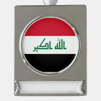 Adorno Con Rótulo Plateado Bandera de Iraq