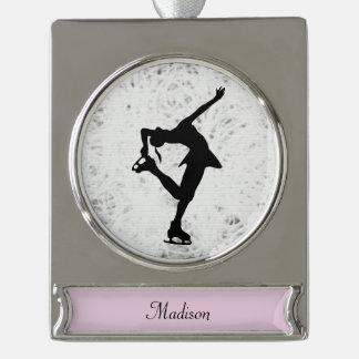 Adorno Con Rótulo Plateado Figura ornamento del patinador - plata