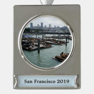 Adorno Con Rótulo Plateado Horizonte de San Francisco y de la ciudad de los