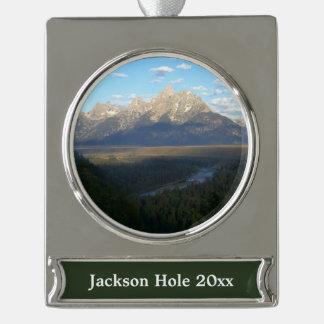 Adorno Con Rótulo Plateado Montañas de Jackson Hole (parque nacional