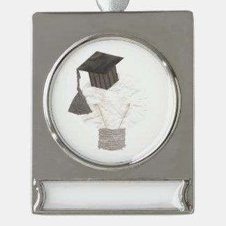 Adorno Con Rótulo Plateado Ornamento de la bandera del bulbo del graduado
