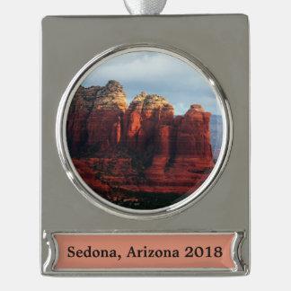 Adorno Con Rótulo Plateado Roca nublada del pote del café en Sedona Arizona