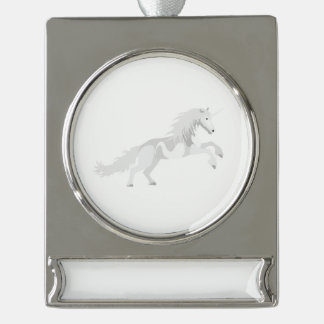 Adorno Con Rótulo Plateado Unicornio del blanco del ejemplo