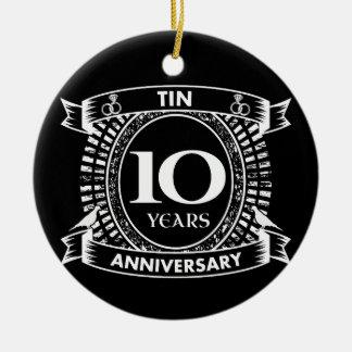 Adorno De Cerámica 10ma lata del aniversario de boda