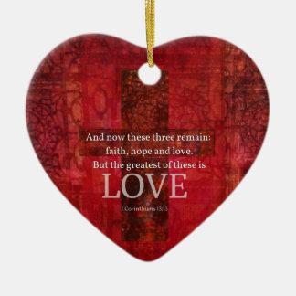 Adorno De Cerámica 1 VERSO de la BIBLIA del 13:13 de los Corinthians
