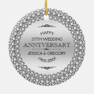 Adorno De Cerámica 25tos diamantes y plata felices del aniversario de
