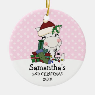 Adorno De Cerámica 2da cebra de Santa del navidad del chica