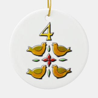 Adorno De Cerámica 4 pájaros de llamada