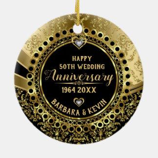 Adorno De Cerámica 50.o Diamantes del aniversario de boda y damascos