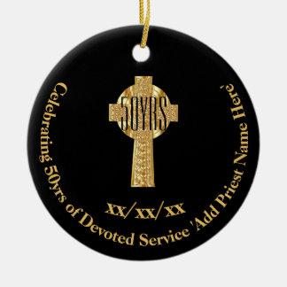 Adorno De Cerámica 50.o Jubileo de oro del sacerdote del aniversario