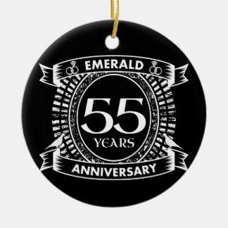 Adorno De Cerámica 55.o escudo de la esmeralda del aniversario de