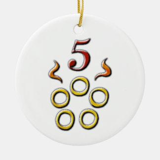 Adorno De Cerámica 5 anillos de oro