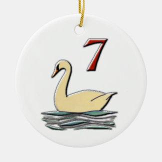 Adorno De Cerámica 7 cisnes una natación