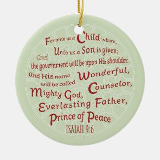 Adorno De Cerámica 9:6 de Isaías en colores del navidad