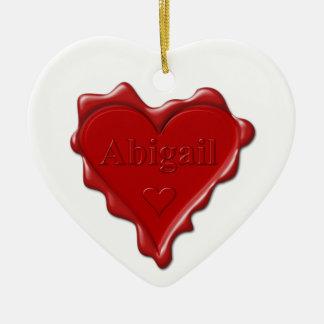 Adorno De Cerámica Abigail. Sello rojo de la cera del corazón con