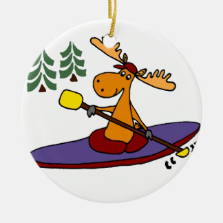 Adorno De Cerámica Alces Kayaking divertidos