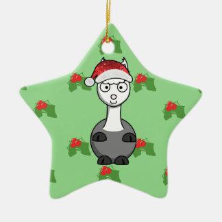 Adorno De Cerámica alpaca de santa del navidad