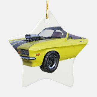 Adorno De Cerámica Amarillo del coche de 1970 músculos con la raya