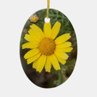 Adorno De Cerámica Amarillo del Cu de la flor de la margarita