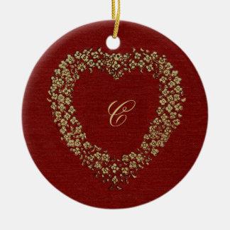 Adorno De Cerámica Amor rojo floral del navidad de la inicial del