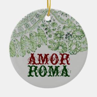 Adorno De Cerámica Amor Roma con el cordón verde
