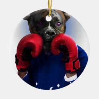 Adorno De Cerámica Animal de la diversión del boxeador del perro de