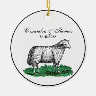 Adorno De Cerámica Animales del campo de la oveja de las ovejas del