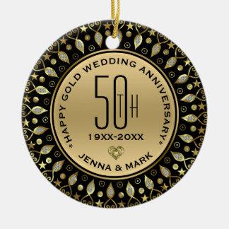 Adorno De Cerámica Aniversario de boda del marco 50.o del círculo del