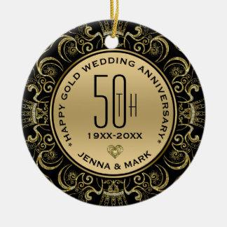 Adorno De Cerámica Aniversario de boda del marco 50.o del purpurina